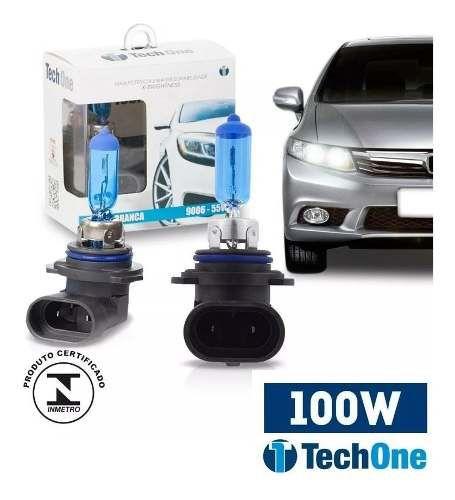 Par Lampada Super Branca Hb4 9006 8500k Tipo Xenon 12v 100w Techone