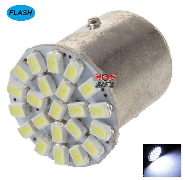 LAMPADA 22 LED FLASH STROBO BAY15D 2 POLO P21/5W 1157 1034 BRANCO 3014 12V
