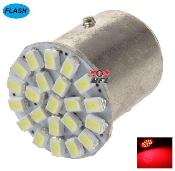 LAMPADA 22 LED FLASH STROBO BAY15D 2 POLO P21/5W 1157 1034 VERMELHO 3014 12V
