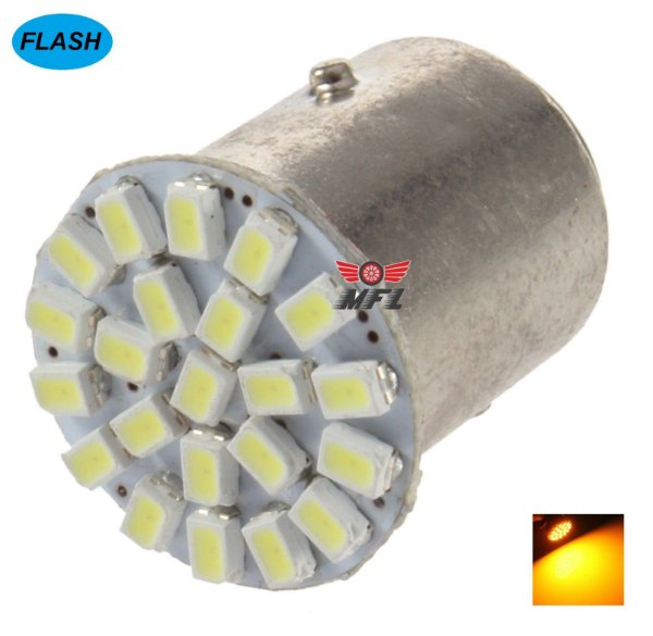 LAMPADA 22 LED FLASH STROBO BA15S 1 POLO P21W 1156 1141 LARANJA 3014 12V