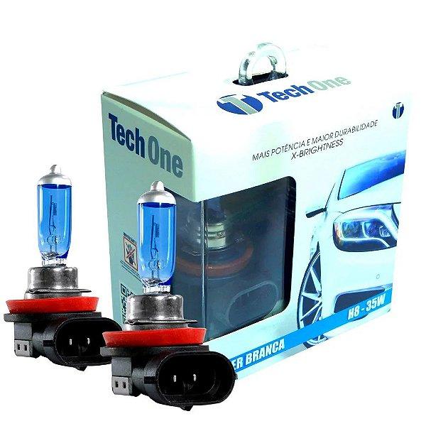 Par Lampada Super Branca H8 8500k Tipo Xenon 12v 35w Techone