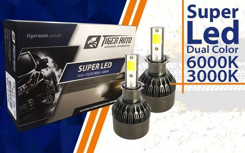 Par Lâmpadas Super Led H1 6000k 3000k 12v 24v 48w Dual Color