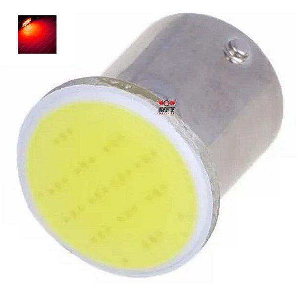 LAMPADA COB LED BA15S 1 POLO P21W 1156 VERMELHO 12V