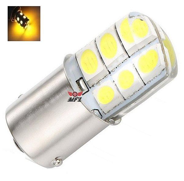 Lampada 12 Led Siliconada Ba15s 1 Polo P21w 1156 1141 Laranja 12v