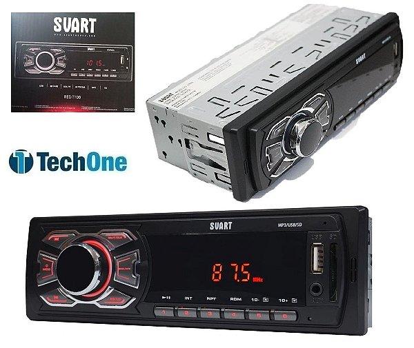 Aparelho De Som Carro Automotivo Pendrive Sd Rádio Svart By Techone