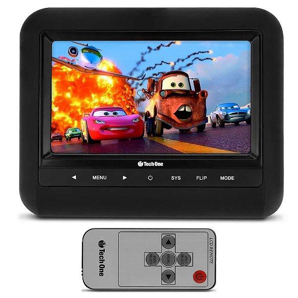 """Tela Encosto De Cabeça Acoplável 7"""" LCD com Controle Remoto Universal Techone"""