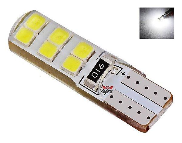 Lampada T10 Siliconada 12 Led W5w Branco 12v