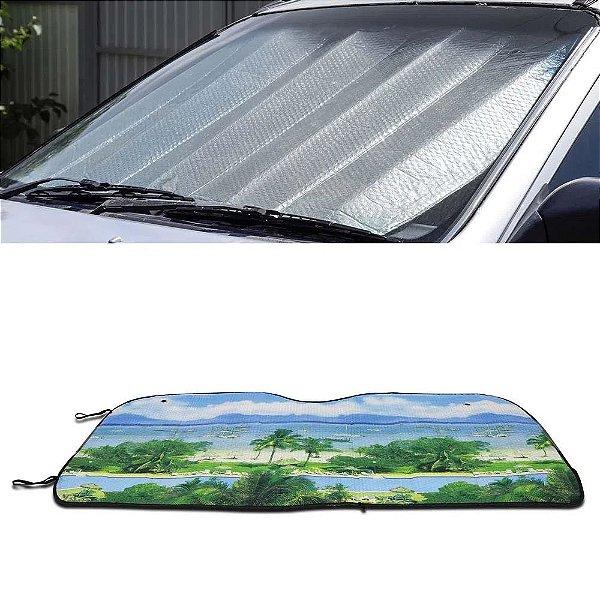 Protetor Solar Para-brisa Quebra Sol Dobrável Universal Estampa Praia com Suporte Ventosa