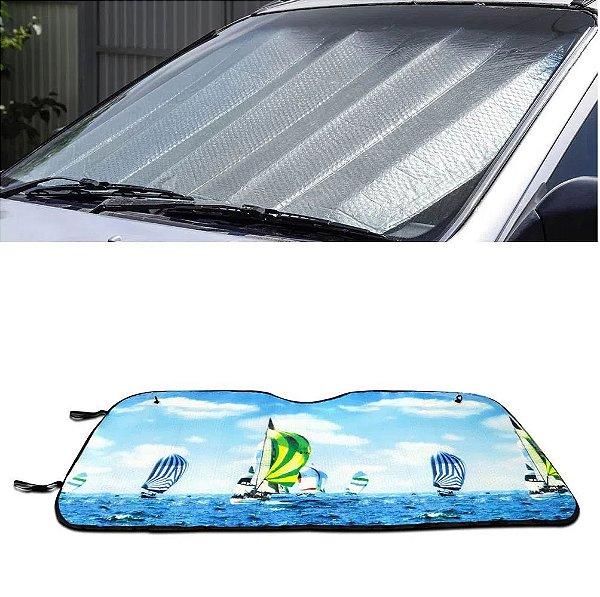 Protetor Solar Para-brisa Quebra Sol Dobrável Universal Estampa Kite Surf com Suporte Ventosa