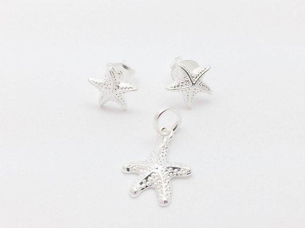 Conjunto brincos e pingente estrela do mar de prata 925