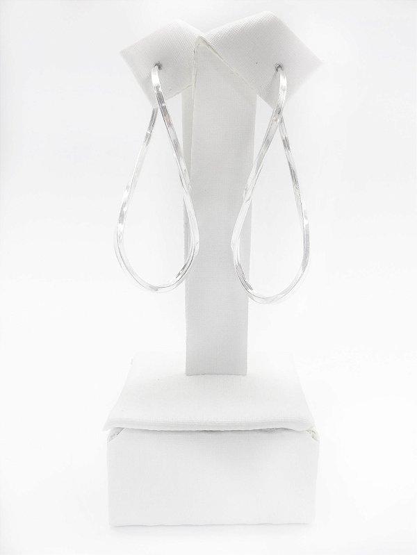 Brinco argola torcido prata 925 fio quadrado