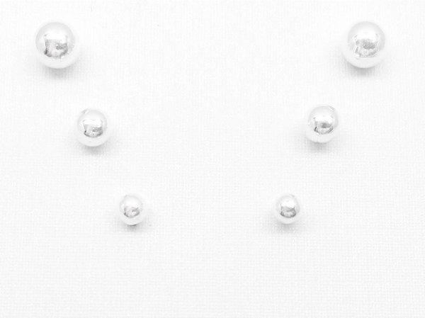 Brincos prata 950 2º furo Bolina 5, 4 e 3 mm