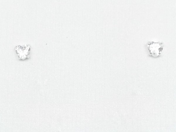 Brinco prata 950 zirconia coração  4mm