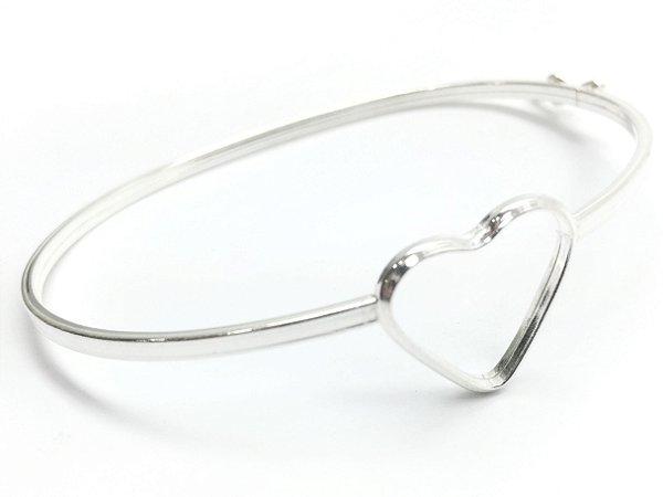 Bracelete Prata 925 Liso Aro retangular