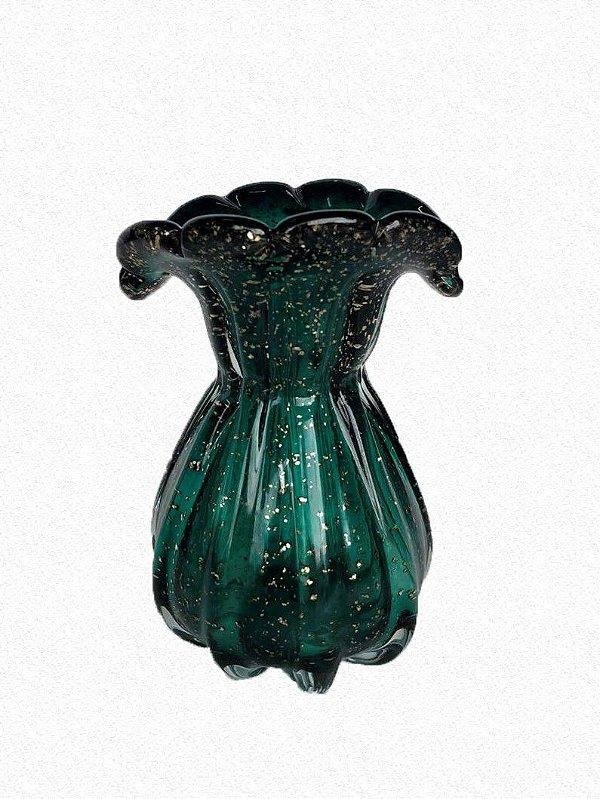 Vaso Vidro Verde e Dourado