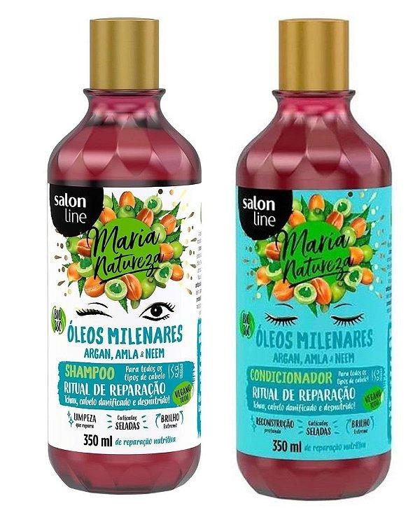 Shampoo e condicionador Maria Natureza (óleos minerais ritual de reparação) – Salon line