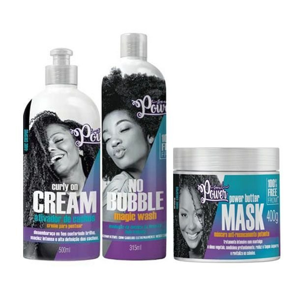 Kit Soul Power No Bubble+Curly on Cream+Power Butter Mask