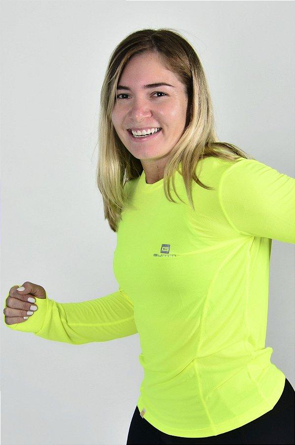 Camiseta Gumm Tech Run Manga Longa Amarelo Flúor Feminina