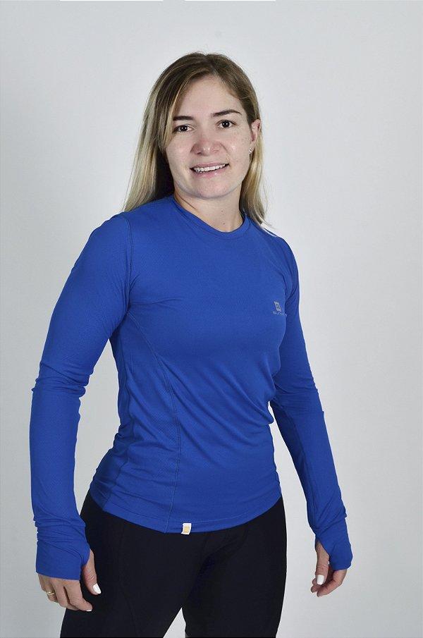 Camiseta Gumm Tech Run Manga Longa Azul Royal Feminina