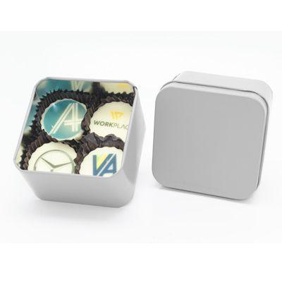 Lata Quadrada Personalizada em Silk 1 Cor + 4 Bombons Personalizados 4 Cores