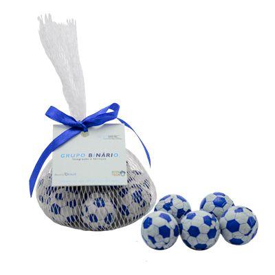 Kit 5 Bolinhas de Chocolate (futebol) Acomodadas em Redinha, Laço e Tag Personalizada