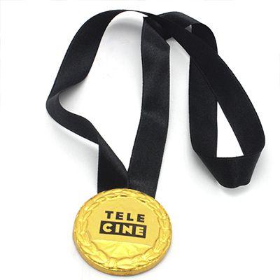 Medalha de Chocolate com Adesivo Personalizado + Fita