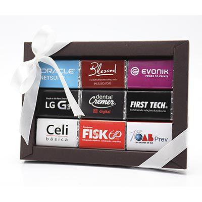 Caixa Luxo 9 Tabletes Personalizados + Laço