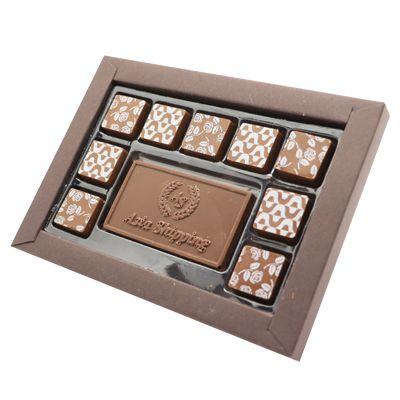Caixa Luxo 9 Bombons Tradicionais + 1 Tablete Relevo