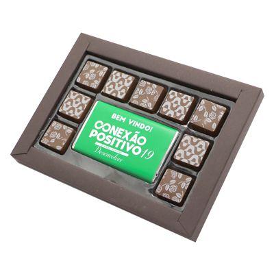 Caixa Luxo 9 Bombons Tradicionais + 1 Tablete com Cinta Personalizada