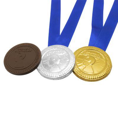 Medalha de Chocolate Personalizada Relevo + Fita