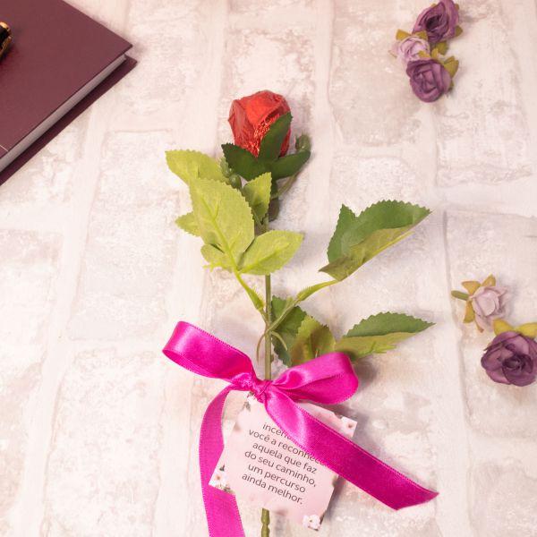 Rosa de chocolate + Tag personalizado 4x0 cores
