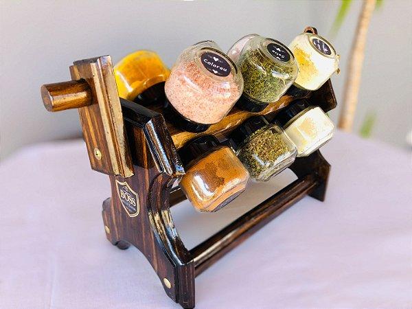 Porta Temperos de madeira 12 recipientes em vidro