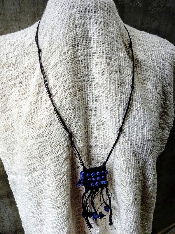 Colar Mini Têxtil Marinho