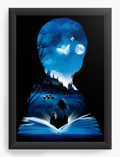 Quadro Decorativo A4 (33X24) Geekz Wizard book - Loja Nerd e Geek - Presentes Criativos