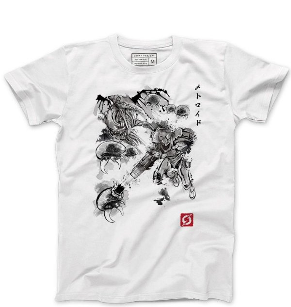 Camiseta Masculina Samus Aran Metroid- - Loja Nerd e Geek - Presentes Criativos