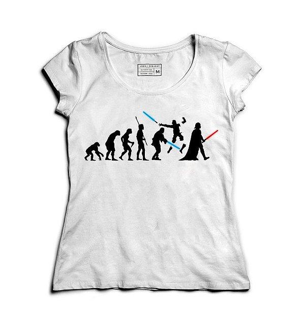 Camiseta Feminina Space Wars Evolution - Loja Nerd e Geek - Presentes Criativos