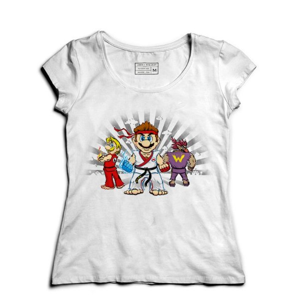 Camiseta Feminina Plumber Kombat - Loja Nerd e Geek - Presentes Criativos