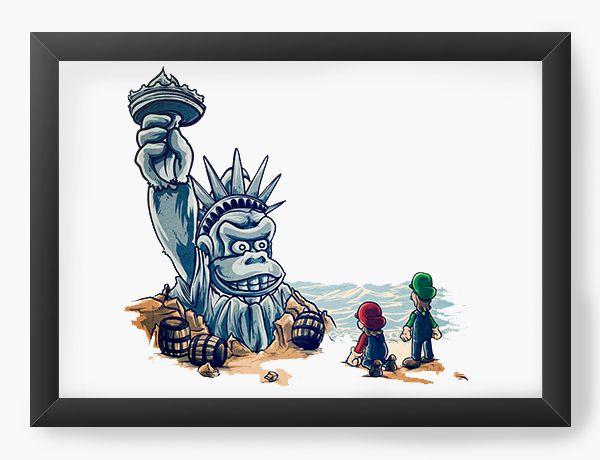 Quadro Decorativo A4 (33X24) Monkey American - Loja Nerd e Geek - Presentes Criativos