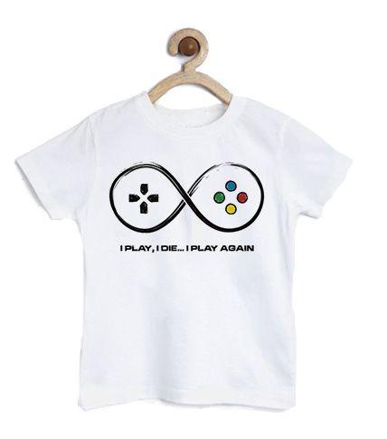 Camiseta Infantil Play Again - Loja Nerd e Geek - Presentes Criativos