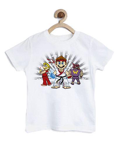 Camiseta Infantil Plumber Kombat - Loja Nerd e Geek - Presentes Criativos