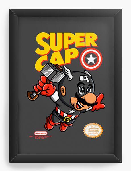 Quadro Decorativo A4 (33X24) Super Cap - Loja Nerd e Geek - Presentes Criativos