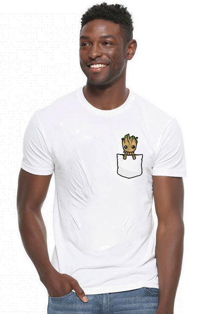 Camiseta Masculina Groot Bolso - Loja Nerd e Geek - Presentes Criativos