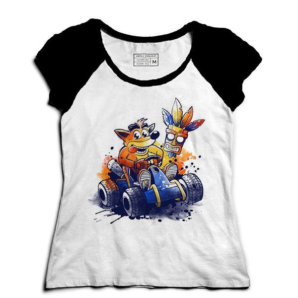 Camiseta Feminina Raglan Crash - Loja Nerd e Geek