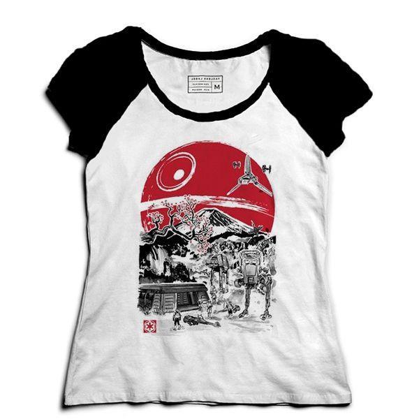 Camiseta Feminina Raglan Space Wars Filme - Loja Nerd e Geek