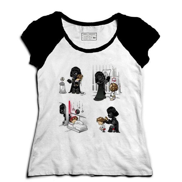 Camiseta Feminina Raglan Dark Daddy - Loja Nerd e Geek