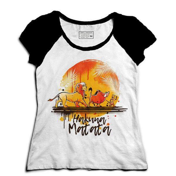Camiseta Feminina Raglan Rei Leão - Hakuna Matata - Loja Nerd e Geek