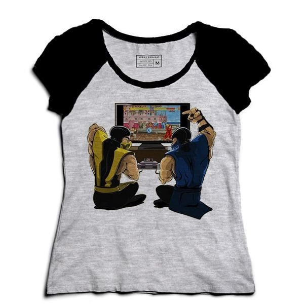 Camiseta Feminina Raglan Mescla Scorpion Street Fighter - Loja Nerd e Geek