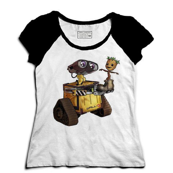 Camiseta Feminina Raglan Robo and Tree - Loja Nerd e Geek