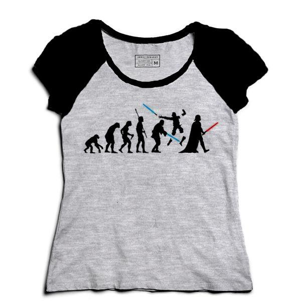 Camiseta Feminina Raglan Space Wars Evolution - Loja Nerd e Geek