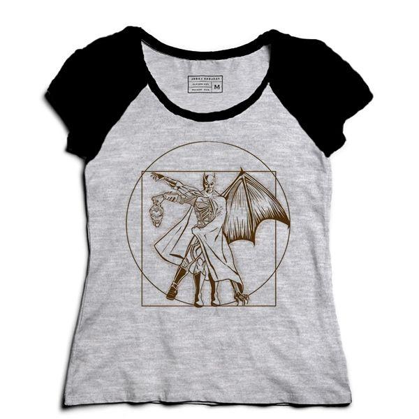 Camiseta Feminina Raglan Mescla Morcego - Loja Nerd e Geek